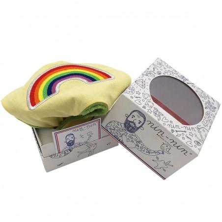 Packaging doudou plat Arc en Ciel personnalisable. Cadeau de naissance original et made in France. Nin-Nin