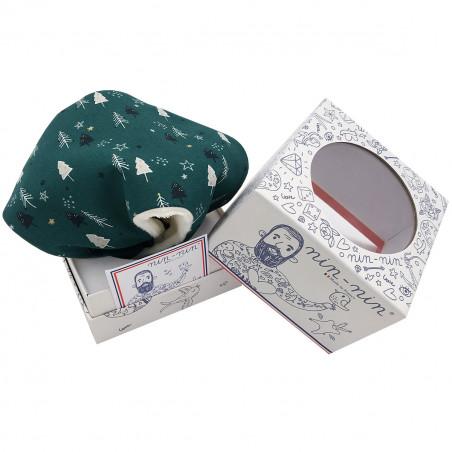 Boite cadeau doudou de Noël le Forêt Noir. Cadeau de naissance personnalisé, original et made in France. Doudou Nin-Nin