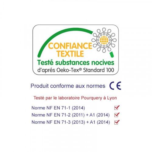 Label Oeko-Tex doudou Manchot personnalisable. Cadeau de naissance original et made in France