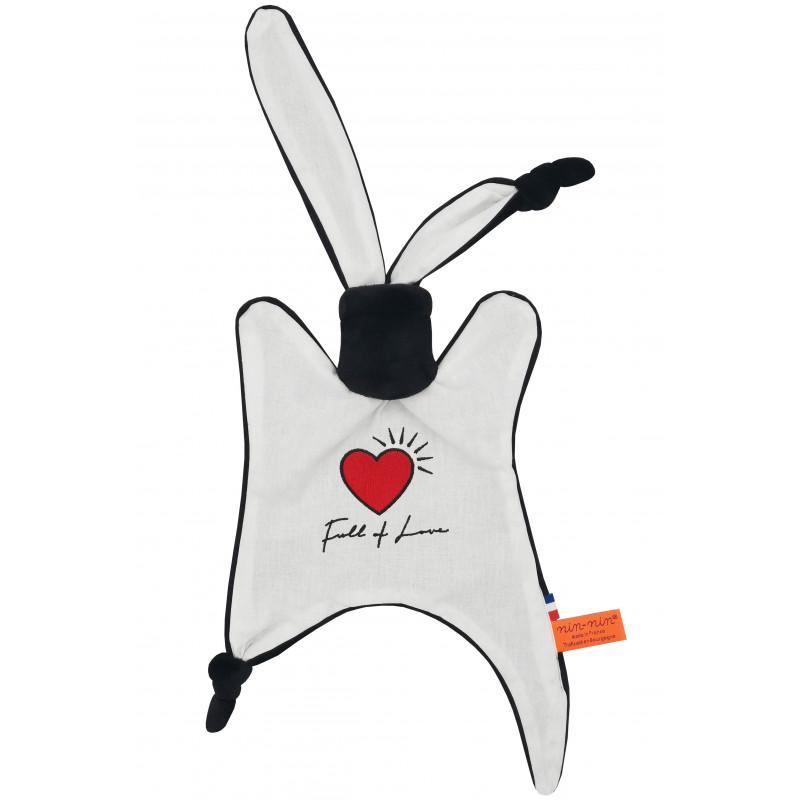 Doudou Full of love spécial Saint valentin. Cadeau de naissance personnalisé, original et made in France. Doudou Nin-Nin