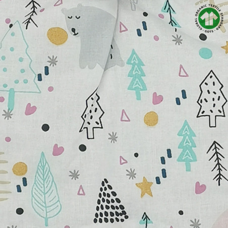 Tissu doudou Bio Le Wood. Cadeau de naissance GOTS, original et made in France. Nin-Nin