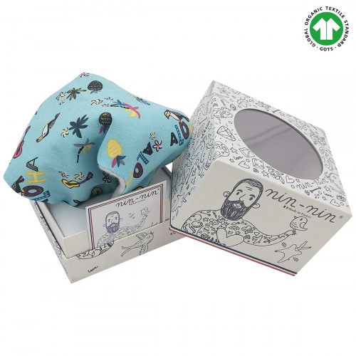 Packaging doudou Bio Le Aloha. Cadeau de naissance GOTS, original et made in France. Nin-Nin