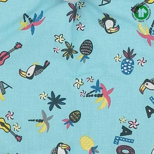 Tissu doudou Bio Le Aloha. Cadeau de naissance GOTS, original et made in France. Nin-Nin