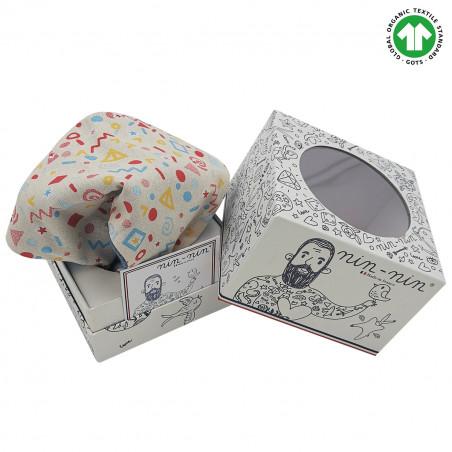 Cube doudou Bio Le POP. Cadeau de naissance GOTS, original et made in France. Nin-Nin