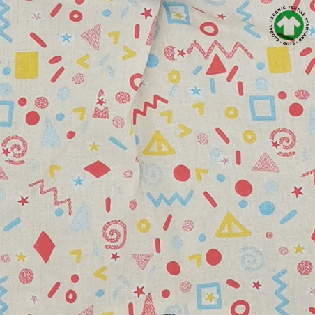 Tissu doudou Bio Le POP. Cadeau de naissance GOTS, original et made in France. Nin-Nin