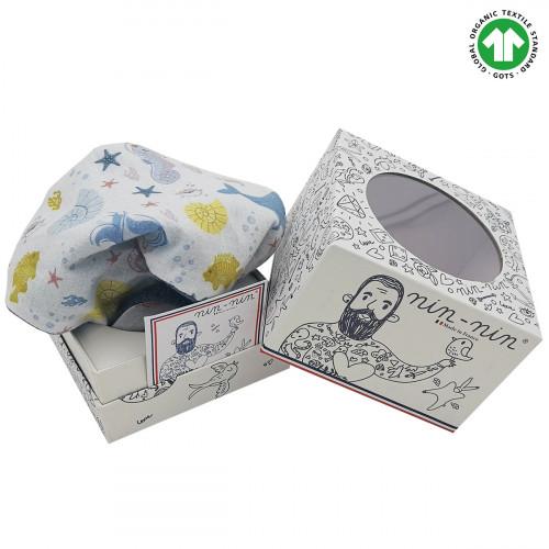 Cube doudou Bio Le Océan. Cadeau de naissance GOTS, original et made in France. Nin-Nin