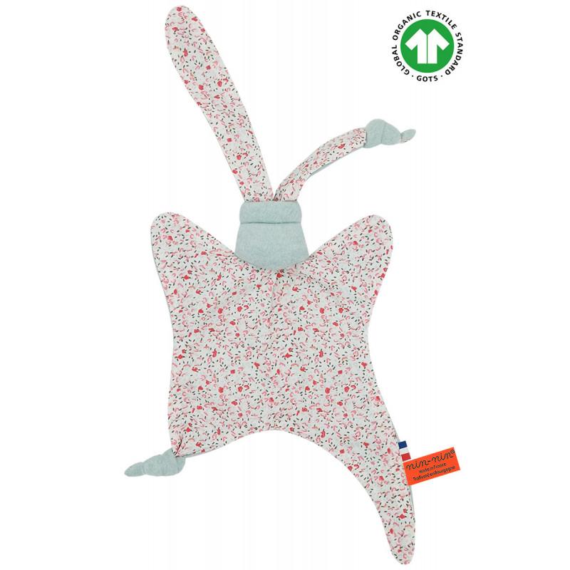 Doudou Bio Le Fleuri. Cadeau de naissance GOTS, original et made in France. Nin-Nin
