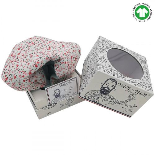 Boite doudou Bio Le Fleuri. Cadeau de naissance GOTS, original et made in France. Nin-Nin