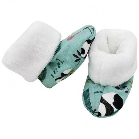 Chaussons hauts botton Panda pour bébé. Cadeau de Naissance Made in France. Nin-Nin