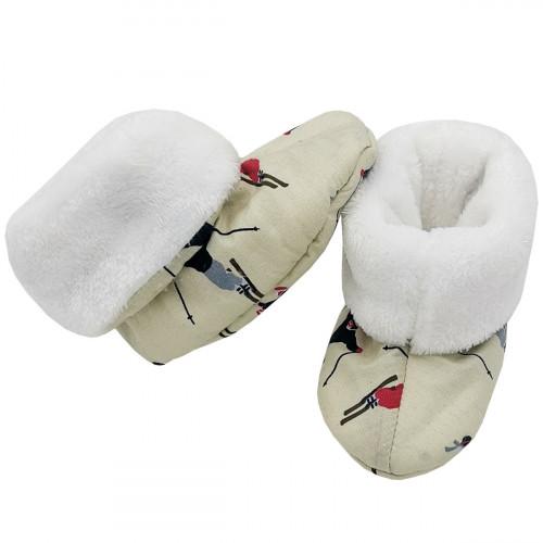 Chaussons hauts botton Skieur pour bébé. Cadeau de Naissance Made in France. Nin-Nin