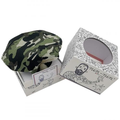 Boite cadeau doudou militaire. Cadeau de naissance personnalisable et made in France. Doudou Nin-Nin