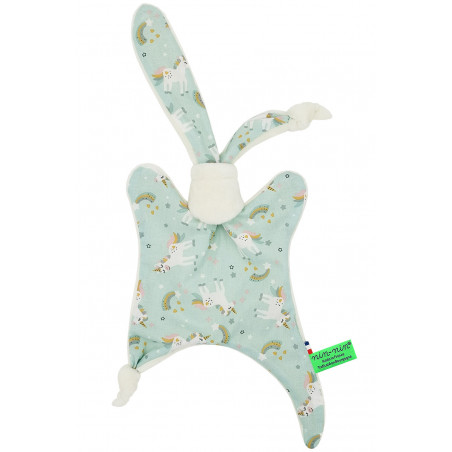 Doudou licorne My Little Poney. Cadeau de naissance personnalisé et made in France. Doudou Nin-Nin