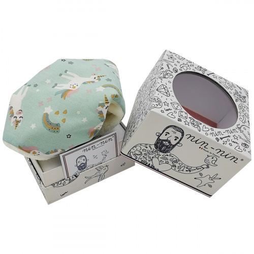 Boite cadeau doudou licorne My Little Poney. Cadeau de naissance personnalisé et made in France. Doudou Nin-Nin