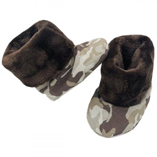 Chaussons hauts botton Camouflage pour bébé. Cadeau de Naissance Made in France. Nin-Nin