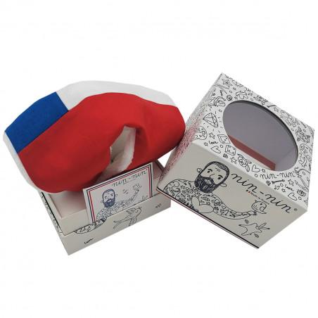 Boite cadeau doudou personnalisé Le Chilien. Cadeau de naissance original personnalisable et made in France. Nin-Nin