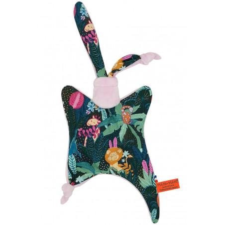 Doudou plat Le Pink Casamance. Cadeau de naissance personnalisable et made in France. Marque Nin-Nin