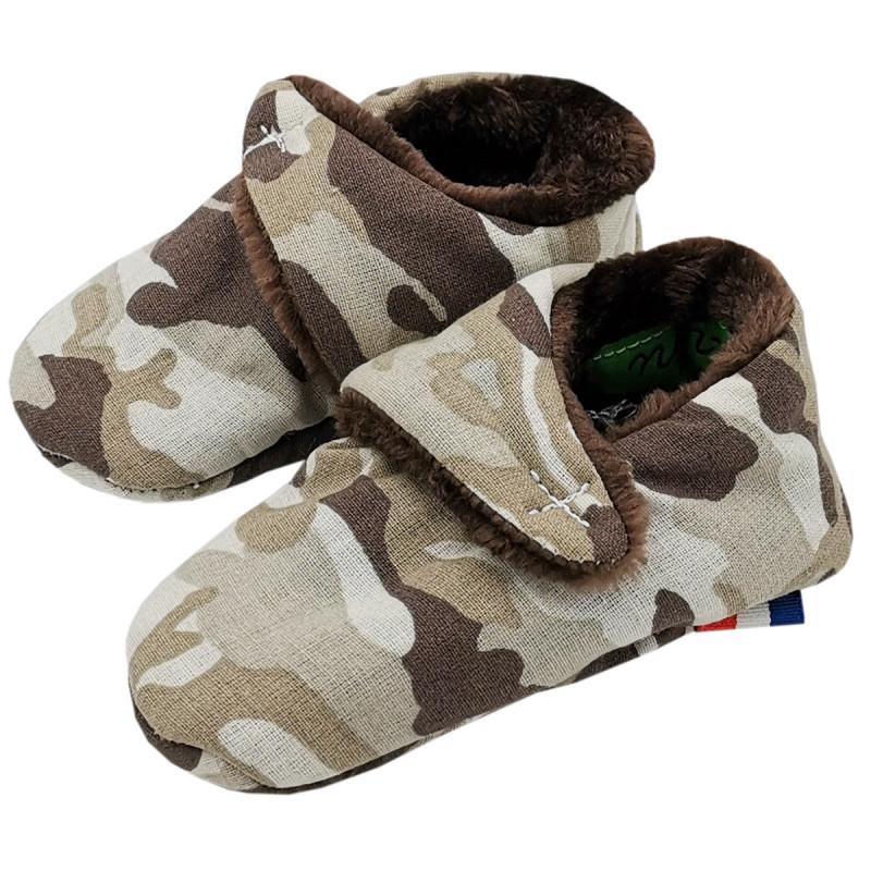 Chaussons bas Camouflage. Cadeau de Naissance Made in France nourrisson. Doudou Nin-Nin