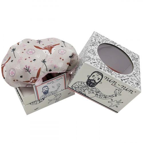 Boite cadeau doudou personnalisé Le Bohème. Cadeau de naissance personnalisable et made in France. Doudou Nin-Nin