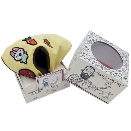 Boite cadeau doudou personnalisé de Pâques. Cadeau de naissance personnalisable et made in France. Doudou Nin-Nin