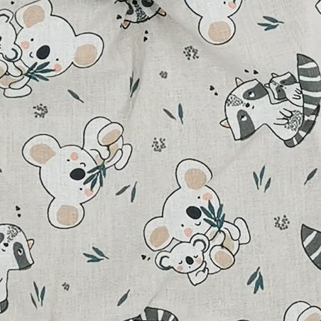 Tissu doudou raton laveur et koala. Cadeau de naissance personnalisé et made in France. Doudou Nin-Nin