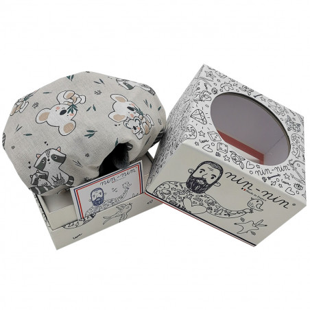 Boite cadeau doudou raton laveur et koala. Cadeau de naissance personnalisé et made in France. Doudou Nin-Nin
