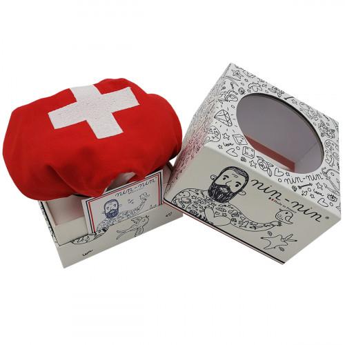 Boite cadeau doudou personnalisé Le Suisse. Cadeau de naissance original personnalisable et made in France. Nin-Nin