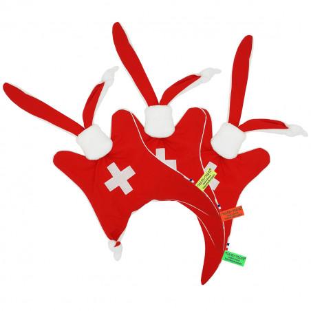 Etiquettes doudou personnalisé Le Suisse. Cadeau de naissance original personnalisable et made in France. Doudou Nin-Nin