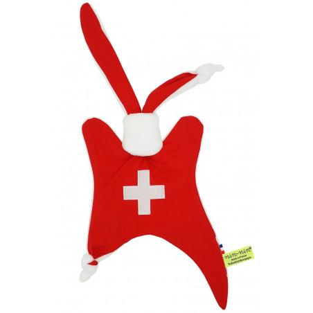 Doudou personnalisé Le Suisse. Cadeau de naissance original personnalisable et made in France. Doudou Nin-Nin
