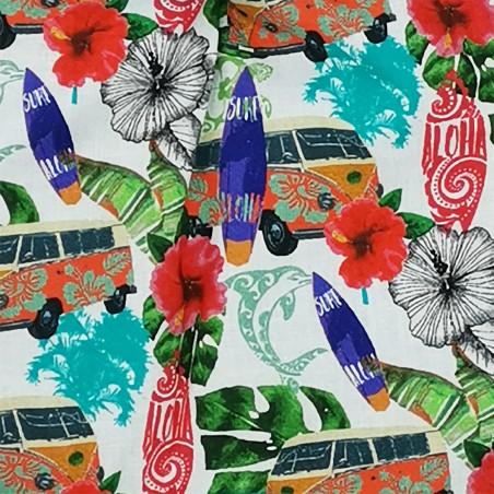 Tissu doudou Hawaï motif surf et combi van. Cadeau de naissance personnalisé et made in France. Doudou Nin-Nin