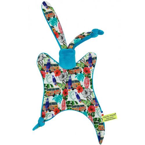 Doudou Hawaï motif surf et combi van. Cadeau de naissance personnalisé et made in France. Doudou Nin-Nin