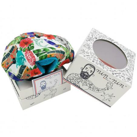 Boite cadeau doudou Hawaï motif surf et combi van. Cadeau de naissance personnalisé et made in France. Doudou Nin-Nin