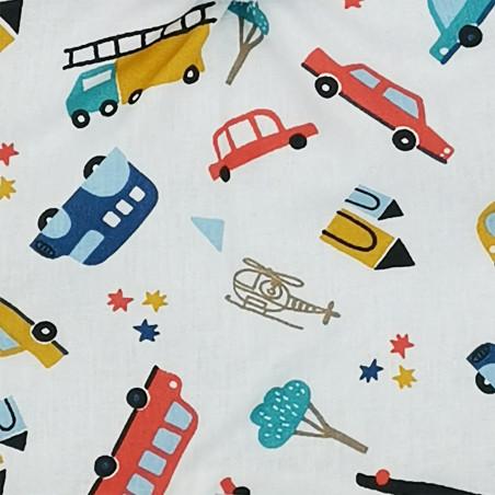 Tissu doudou Le City motif voitures, camions et hélicoptères. Cadeau de naissance personnalisé et made in France. Nin-Nin