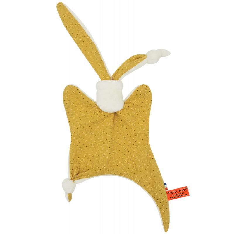 Doudou Le Gordes. Tissu jaune brodé et ajouré. Cadeau de naissance personnalisé et made in France. Doudou Nin-Nin