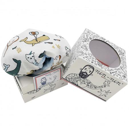 Cadeau doudou pieuvre, raie, dauphin, baleine, crabe. Cadeau de naissance personnalisé et made in France. Doudou Nin-Nin
