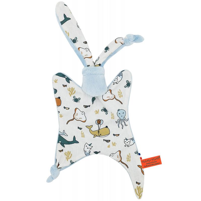 Doudou pieuvre, raie, dauphin, baleine, crabe. Cadeau de naissance personnalisé et made in France. Doudou Nin-Nin