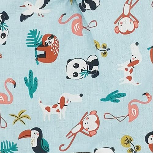 Tissu doudou animaux l'explorateur. Cadeau de naissance personnalisé et made in France. Doudou Nin-Nin