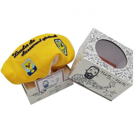 Boite cadeau doudou Le leader du Tour 2021 maillot jaune. Cadeau de naissance personnalisé et made in France. Nin-Nin