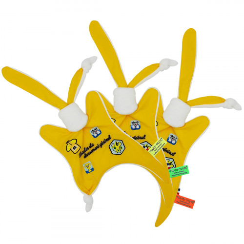 Etiquettes doudou Le leader du Tour 2021 maillot jaune. Cadeau de naissance personnalisé et made in France. Doudou Nin-Nin