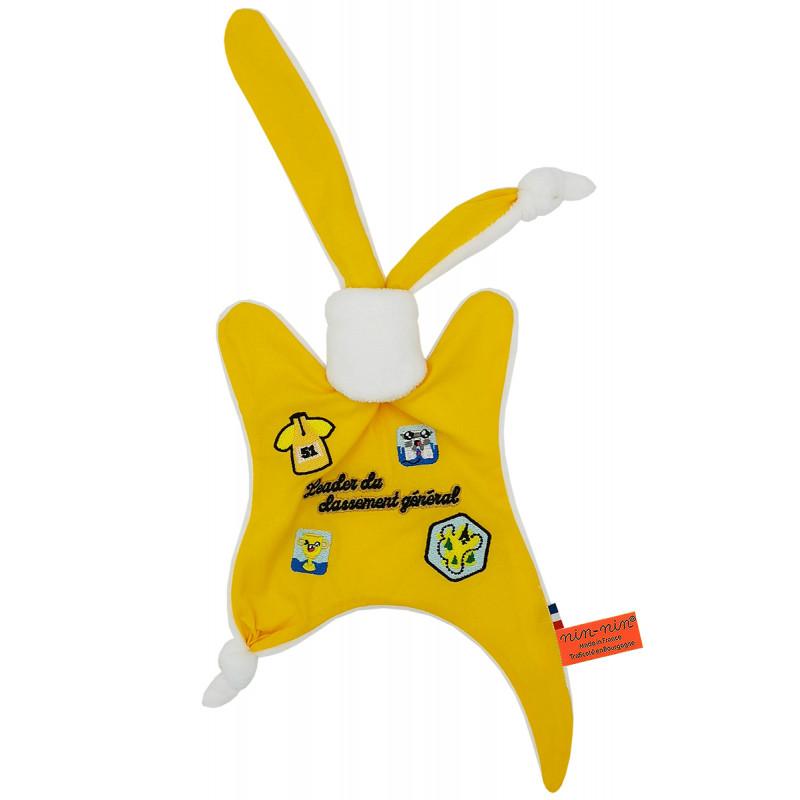 Doudou Le leader du Tour 2021 maillot jaune. Cadeau de naissance personnalisé et made in France. Doudou Nin-Nin