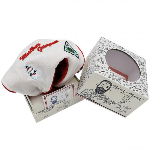 Boite cadeau doudou Le Grimpeur du Tour 2021 maillot à pois. Cadeau de naissance personnalisé et made in France. Nin-Nin