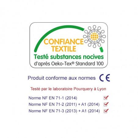 Label Oeko-Tex doudou Bourguignon personnalisable. Cadeau de naissance original et made in France