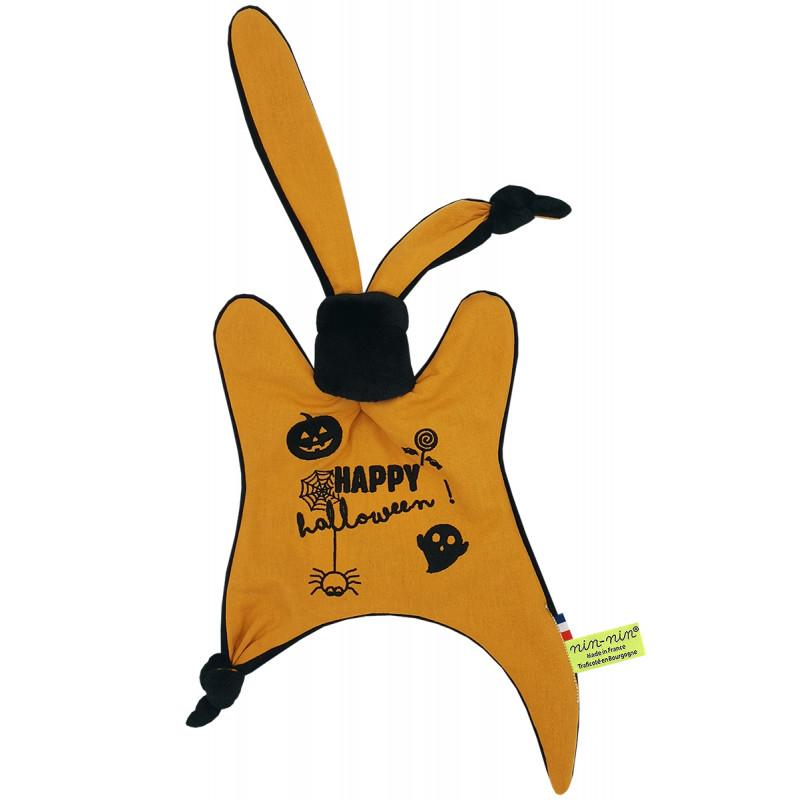 Doudou personnalisé Halloween. Cadeau de naissance original et made in France. Doudou Nin-Nin