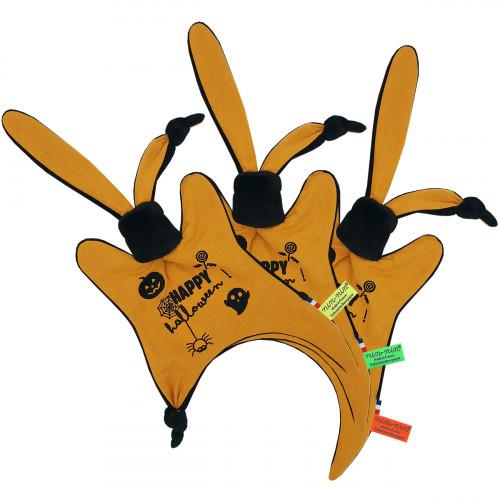 Doudou étiquettes personnalisé Halloween. Cadeau de naissance original et made in France. Doudou Nin-Nin