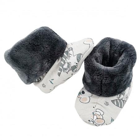 """Chaussons hauts botton """"Le Raccoon"""" pour bébé. Cadeau de Naissance Made in France. Nin-Nin"""