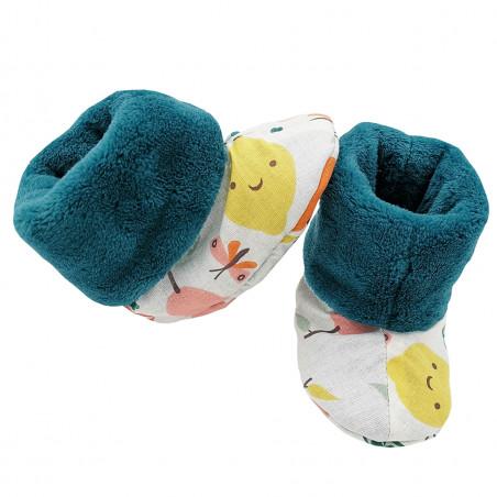"""Chaussons hauts botton """"Le Veggie"""" pour bébé. Cadeau de Naissance Made in France. Nin-Nin"""