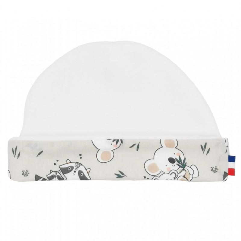 """Bonnet de naissance mixte """"Le Racoon"""". Bonnet bébé fabriqué en France. Nin-Nin"""