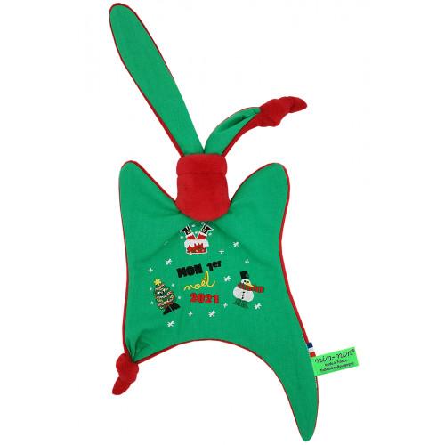 Doudou Le Moche de Noël. Cadeau de Noël personnalisable et fabriqué en France. Marque Nin-Nin