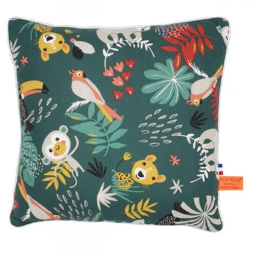 """Coussin """"Tropical"""". Cadeau de naissance original personnalisable et made in France. Nin-Nin"""