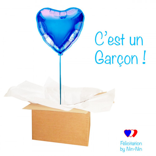 "BALLON COEUR BLEU ""Félicitation c'est un Garçon !"""
