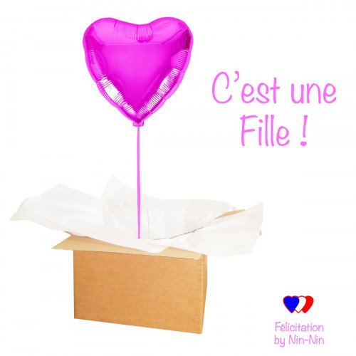 "BALLON COEUR ROSE ""Félicitation C'est une Fille !"" hélium"